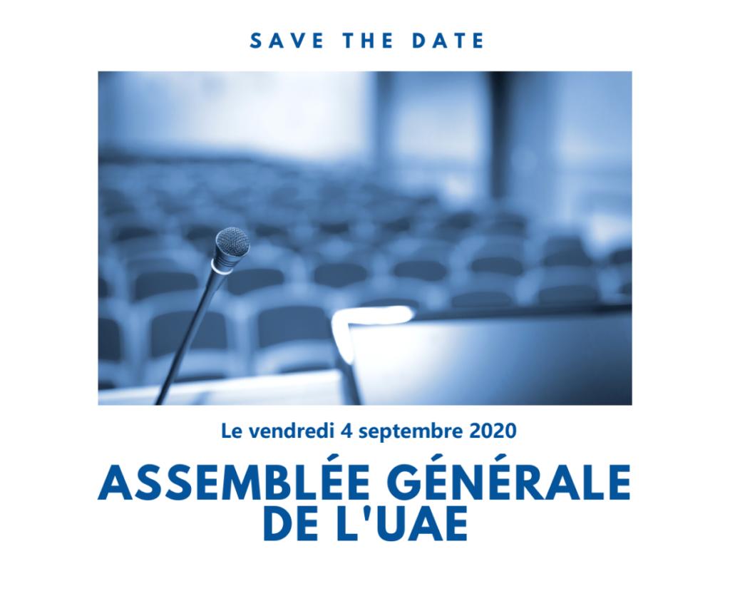 Convocation à l'Assemblée Générale ordinaire de l'UAE le 4 septembre 2020