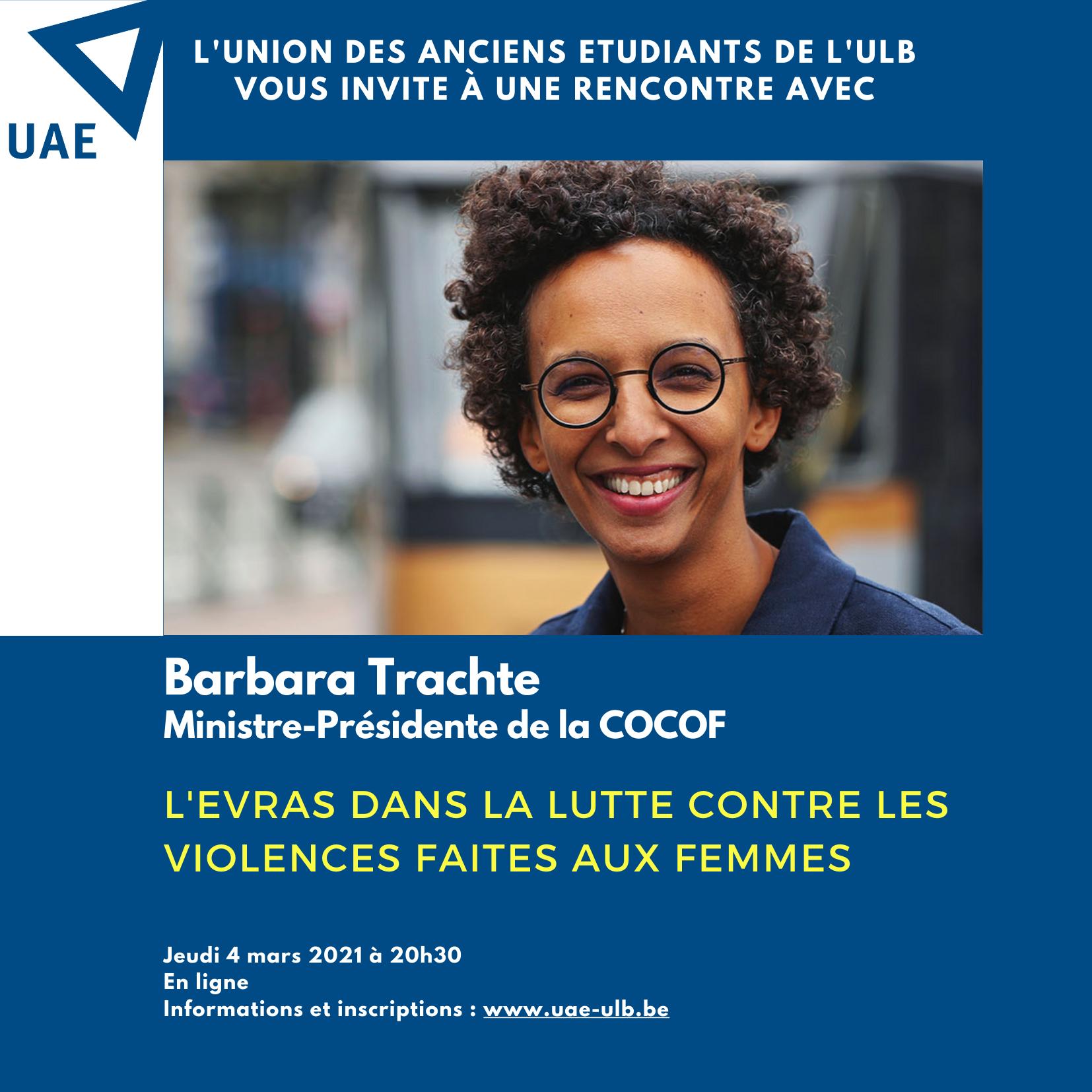 """Rencontre en ligne avec Barbara Trachte : """"L'EVRAS dans la lutte contre les violences faites aux femmes"""""""