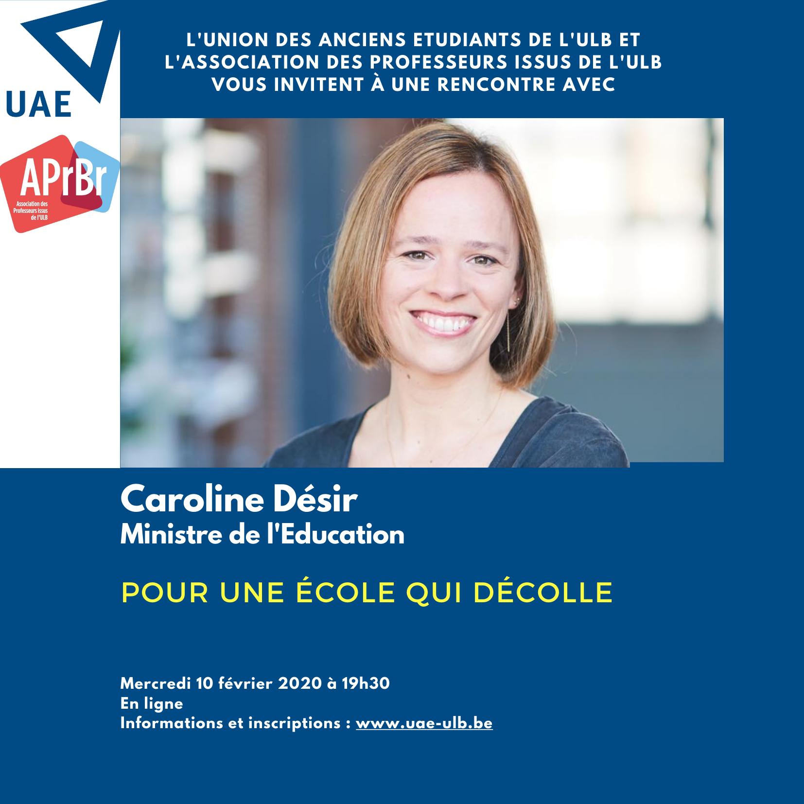 """Rencontre en ligne avec Caroline Désir : """"Pour une école qui décolle"""""""